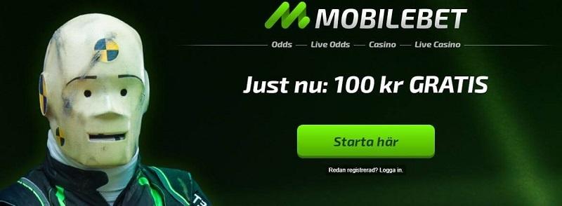Få 100 kr gratis casino hos Mobilebet!