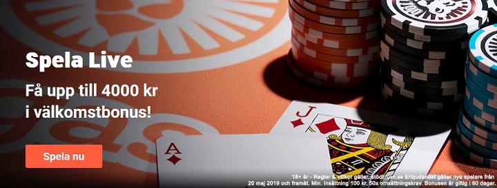 LeoVegas live casino bonus på 4 000 kr